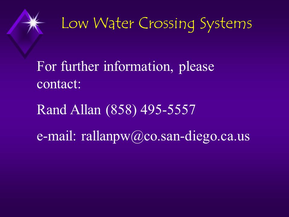 Low Water Crossing Systems