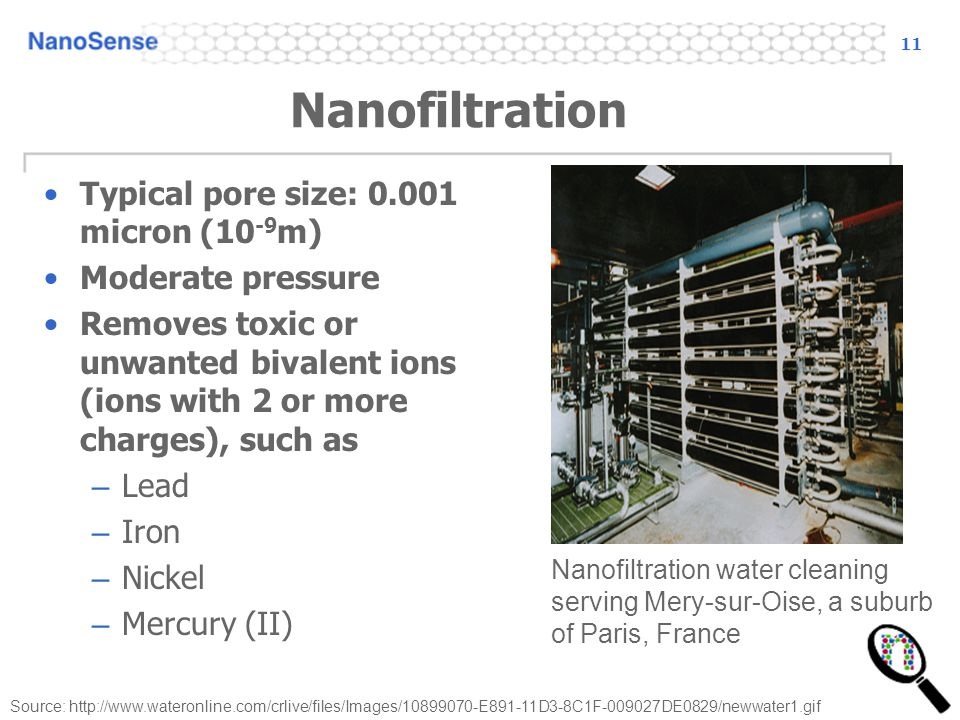 Nanofiltration Typical pore size: 0.001 micron (10-9m)