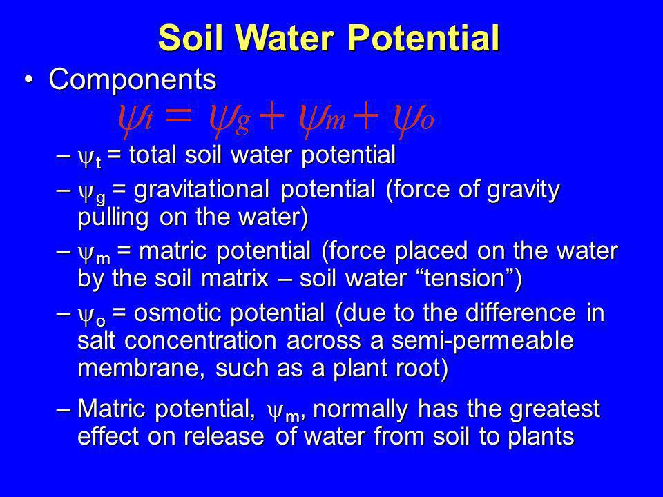 Soil Water Potential Components t = total soil water potential