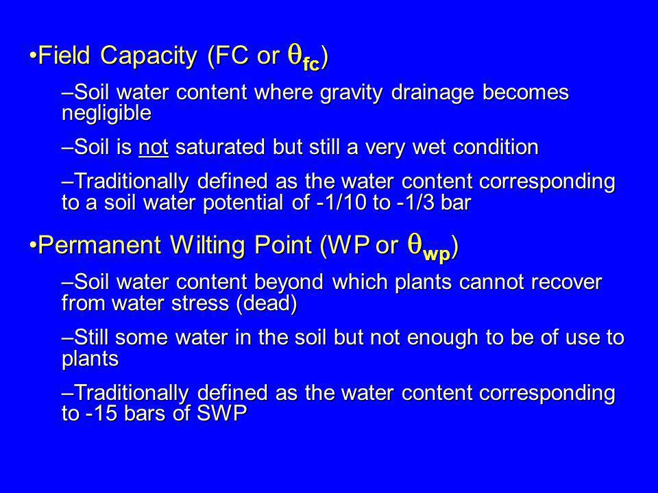 Field Capacity (FC or fc)