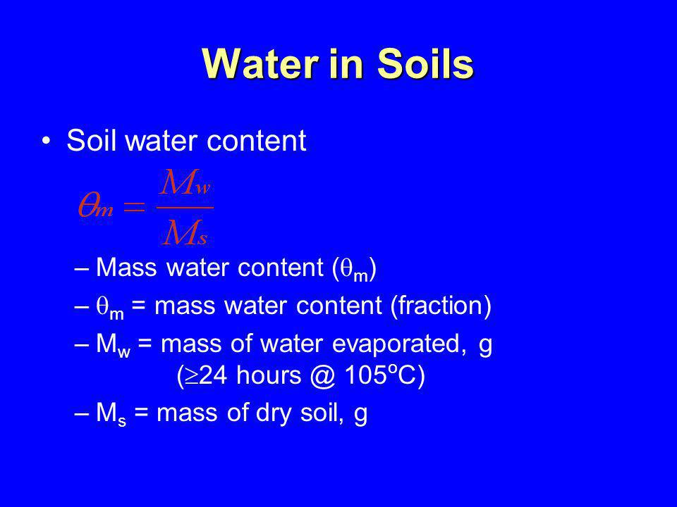 Water in Soils Soil water content Mass water content (m)