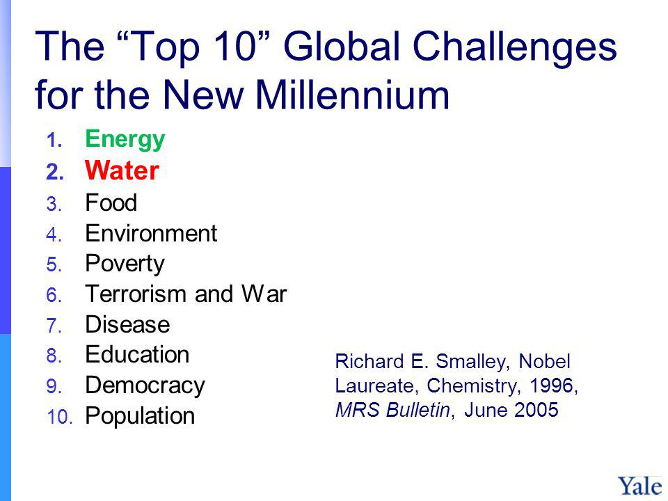 The Top 10 Global Challenges for the New Millennium