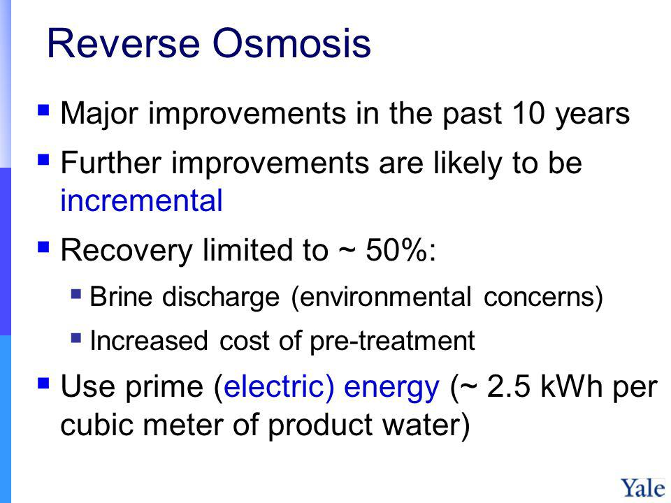 Reverse Osmosis Major improvements in the past 10 years