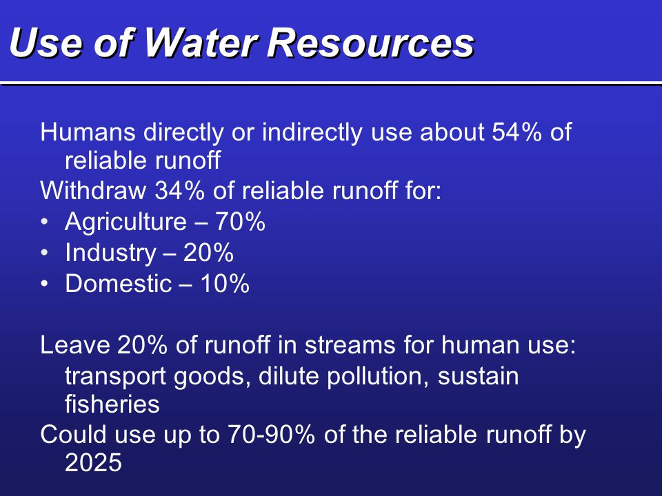 Use of Water Resources Humans directly or indirectly use about 54% of reliable runoff. Withdraw 34% of reliable runoff for: