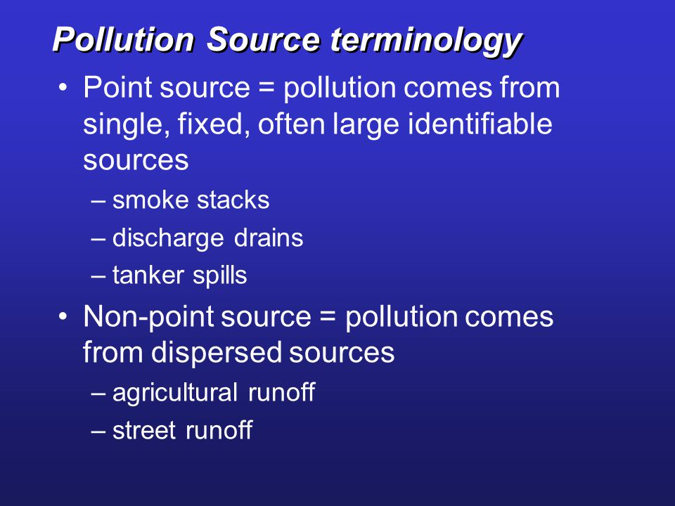 Pollution Source terminology