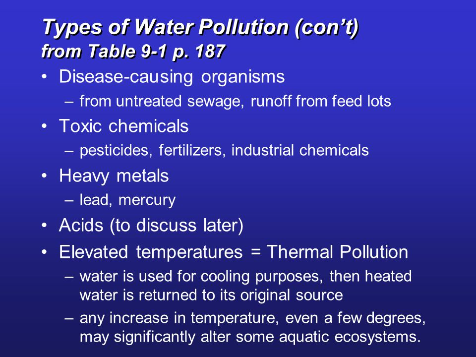 Types of Water Pollution (con't) from Table 9-1 p. 187