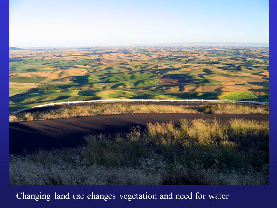 Changing land use changes vegetation and need for water