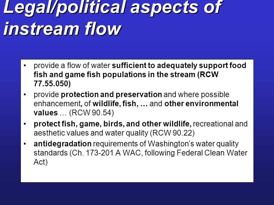Legal/political aspects of instream flow