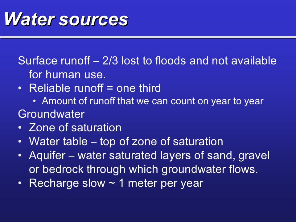 Water sources Surface runoff – 2/3 lost to floods and not available for human use. Reliable runoff = one third.