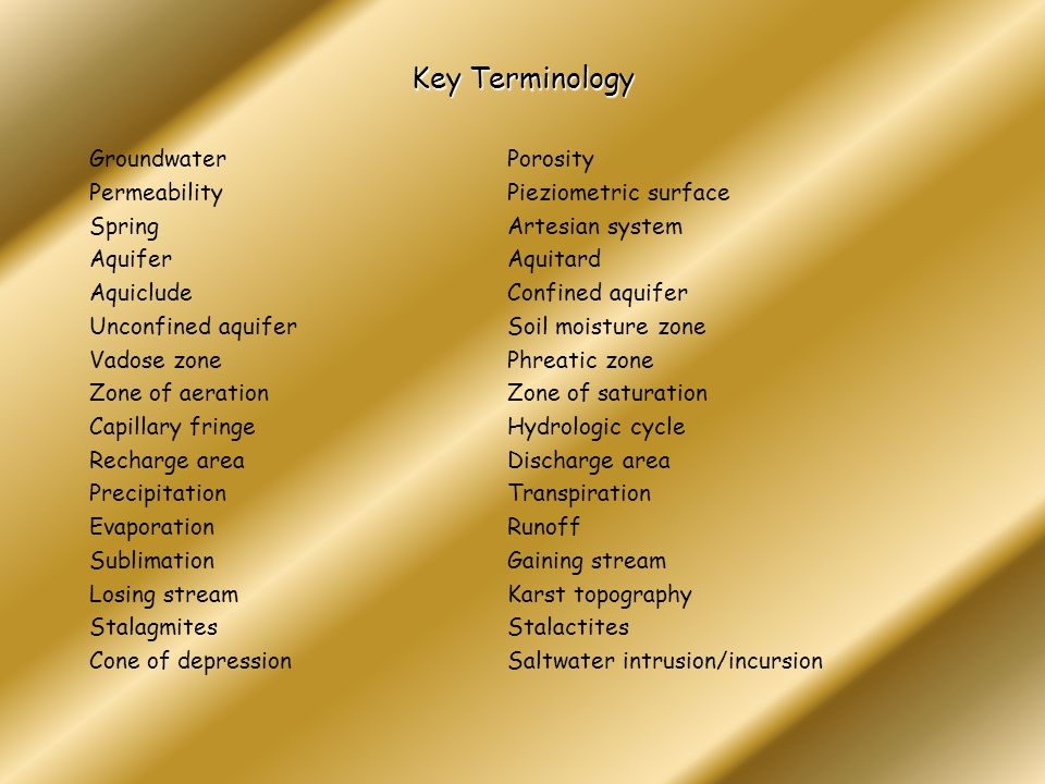 Key Terminology Groundwater Porosity Permeability Pieziometric surface