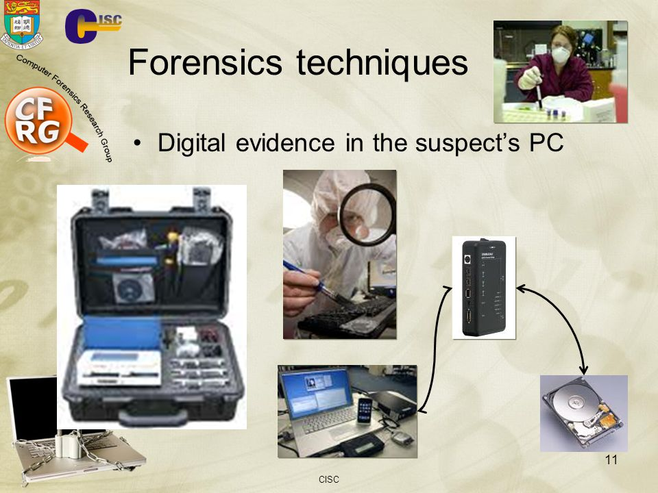Forensics techniques Digital evidence in the suspect's PC