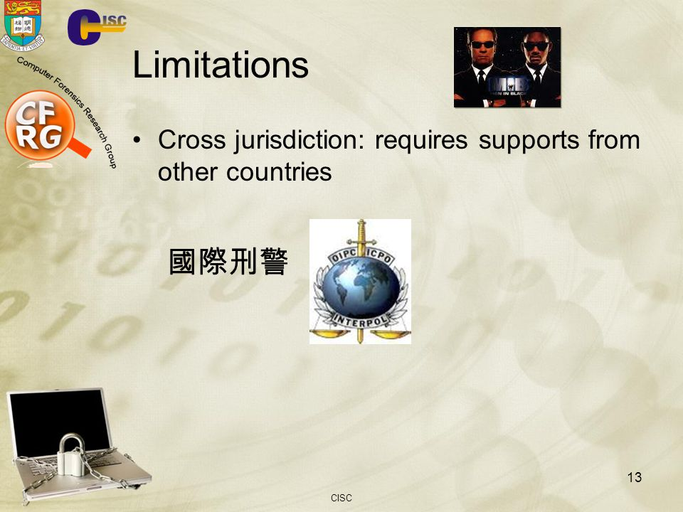 Limitations Cross jurisdiction: requires supports from other countries 國際刑警 CISC
