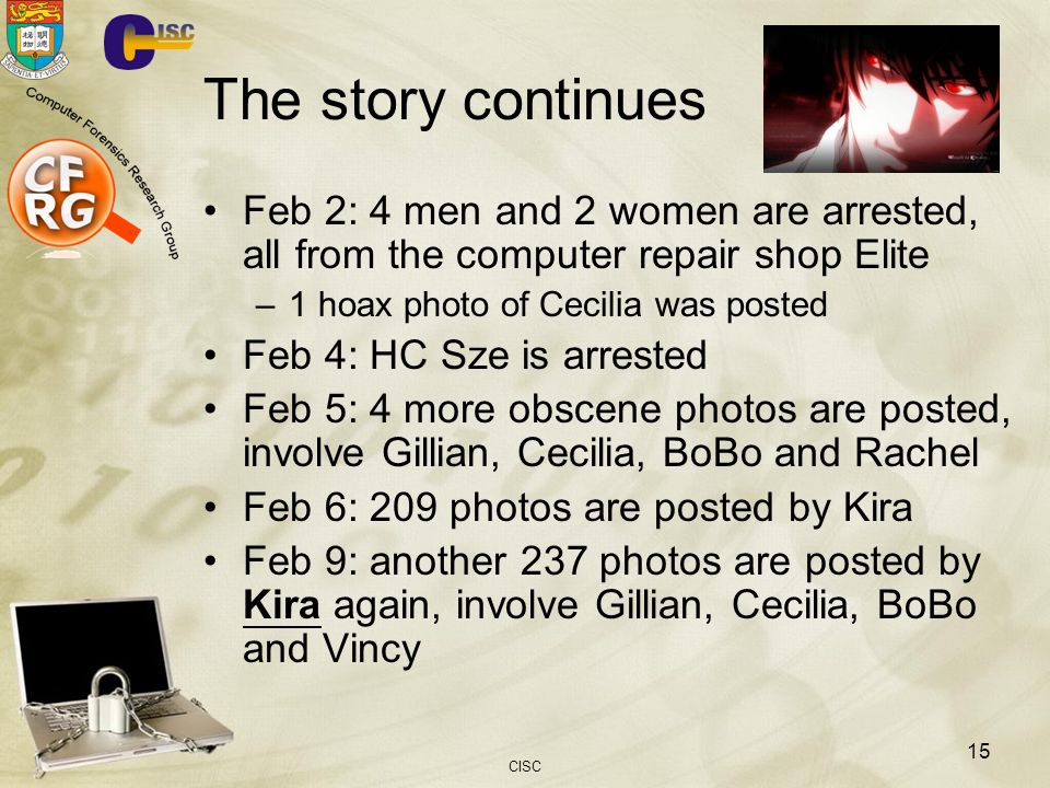 The story continues Feb 2: 4 men and 2 women are arrested, all from the computer repair shop Elite.