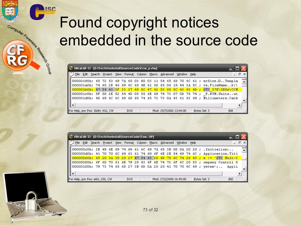 Found copyright notices embedded in the source code
