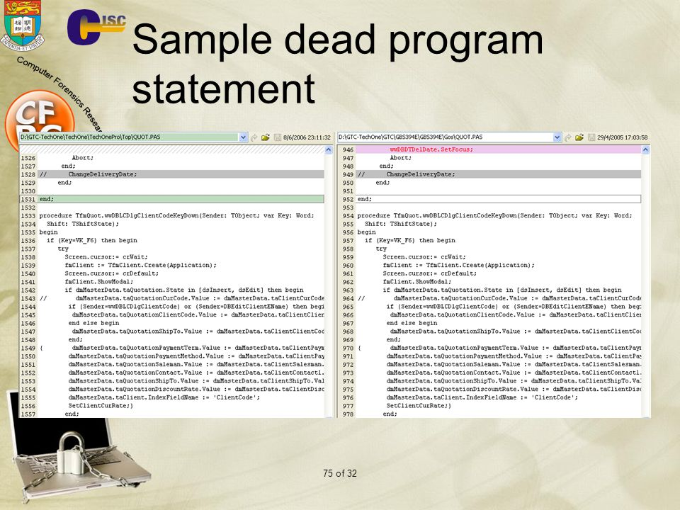 Sample dead program statement