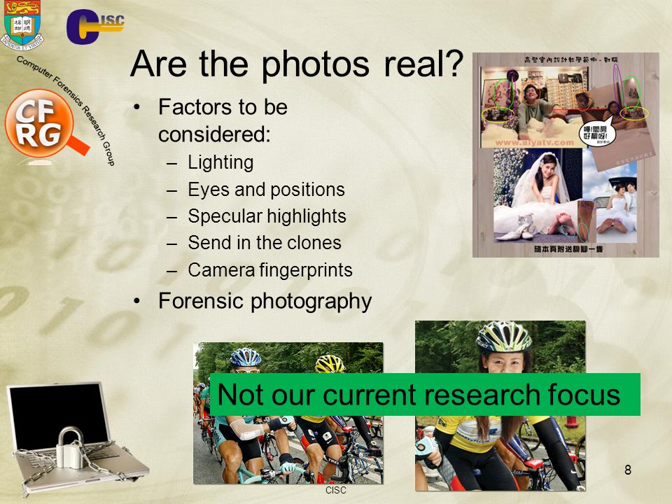 Are the photos real Not our current research focus