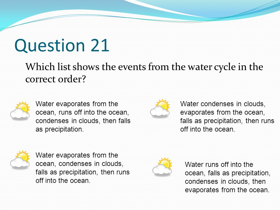 Question 21 Which list shows the events from the water cycle in the correct order