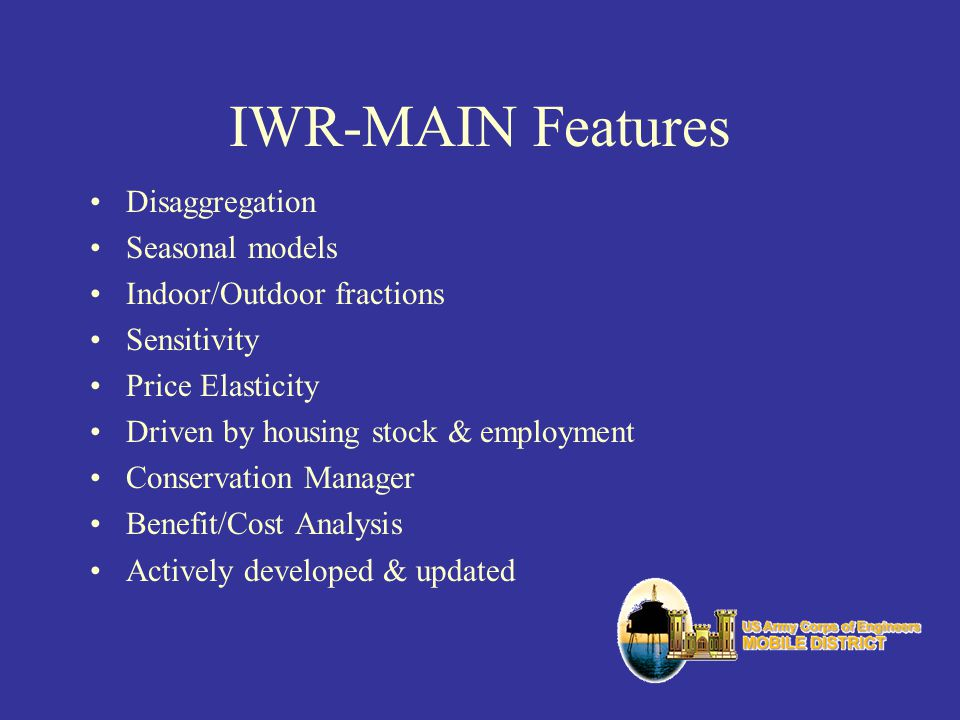 IWR-MAIN Features Disaggregation Seasonal models