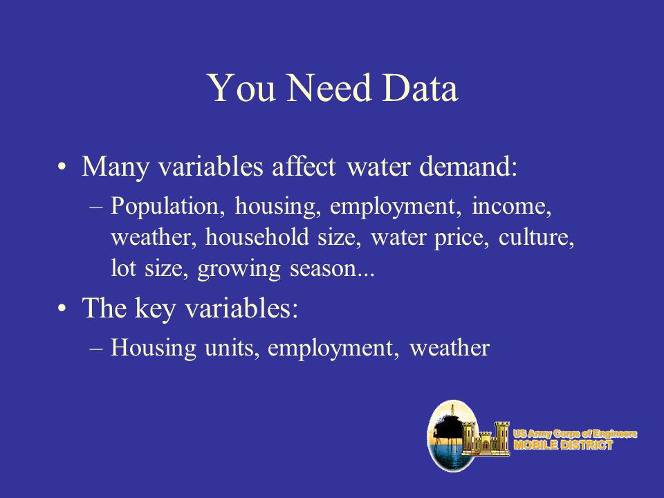 You Need Data Many variables affect water demand: The key variables:
