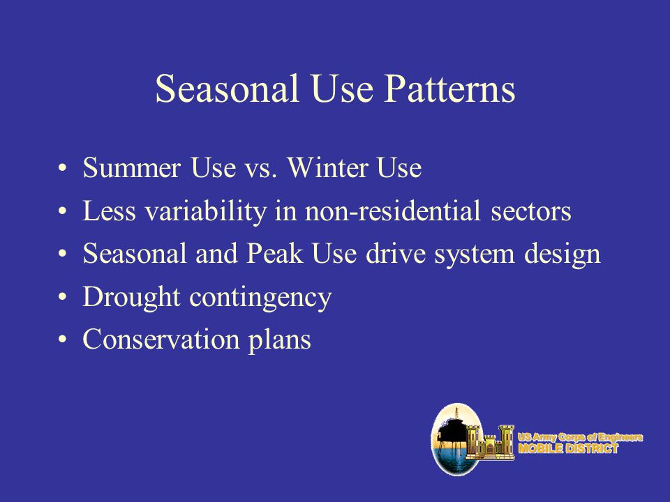 Seasonal Use Patterns Summer Use vs. Winter Use