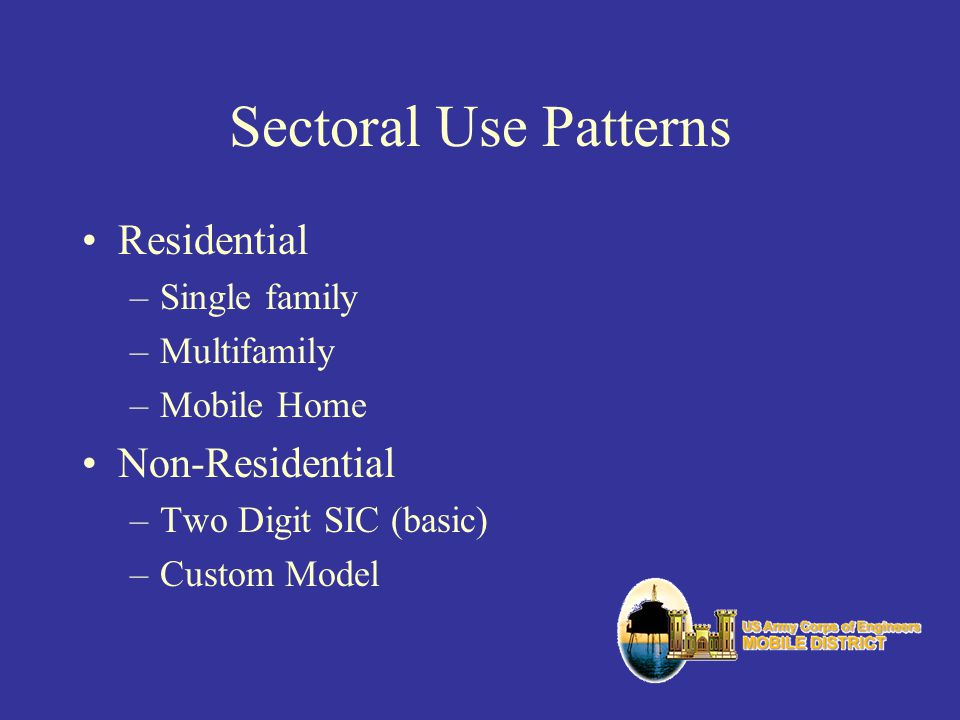 Sectoral Use Patterns Residential Non-Residential Single family