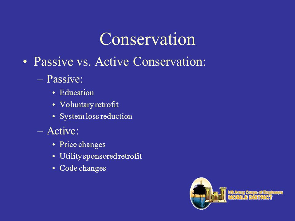 Conservation Passive vs. Active Conservation: Passive: Active: