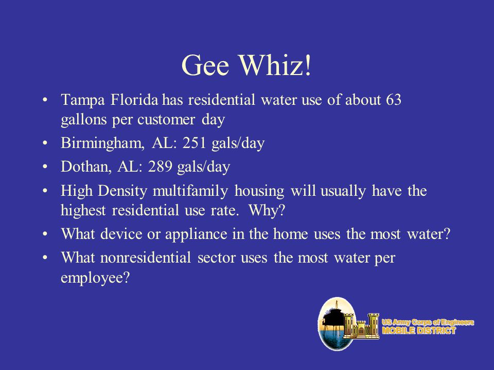 Gee Whiz! Tampa Florida has residential water use of about 63 gallons per customer day. Birmingham, AL: 251 gals/day.