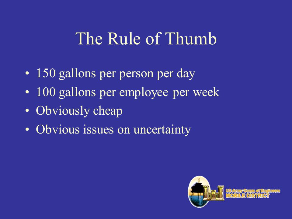 The Rule of Thumb 150 gallons per person per day