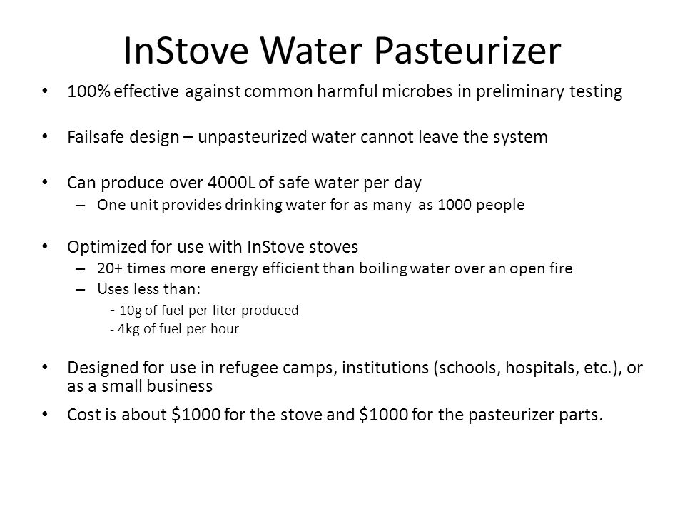 InStove Water Pasteurizer