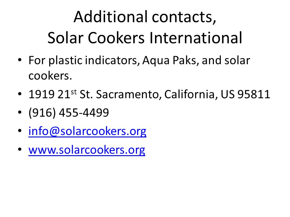 Additional contacts, Solar Cookers International
