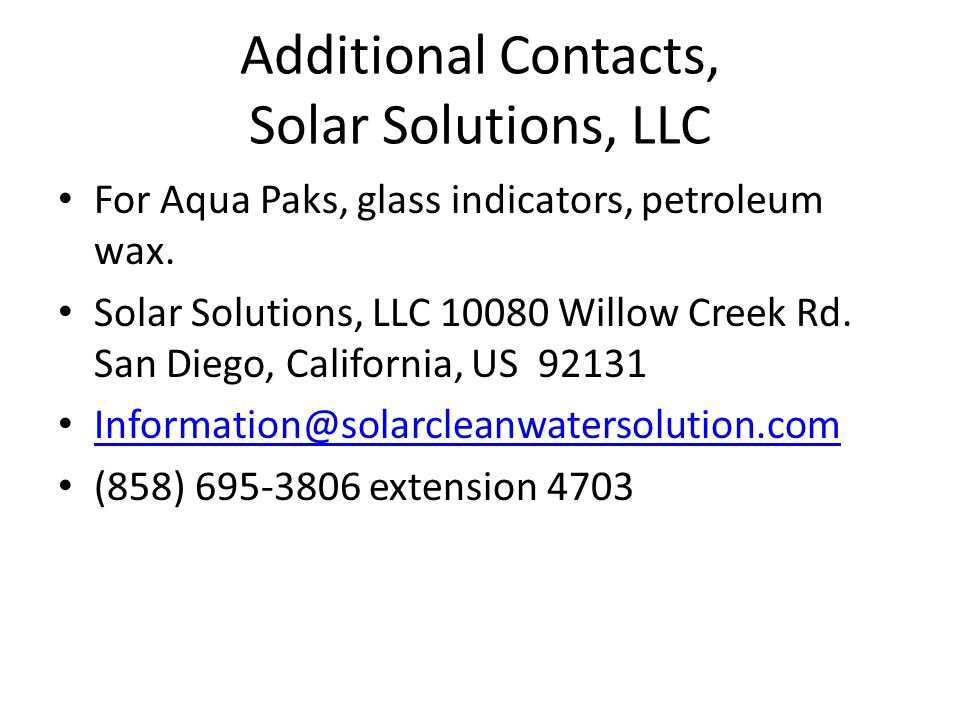 Additional Contacts, Solar Solutions, LLC