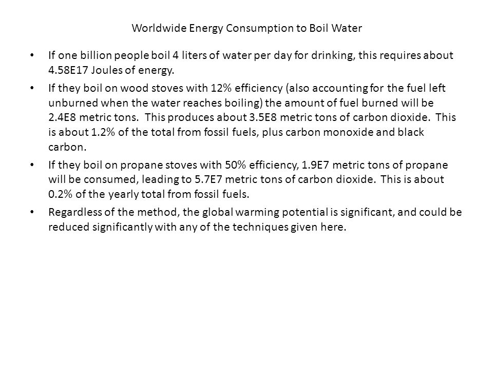 Worldwide Energy Consumption to Boil Water