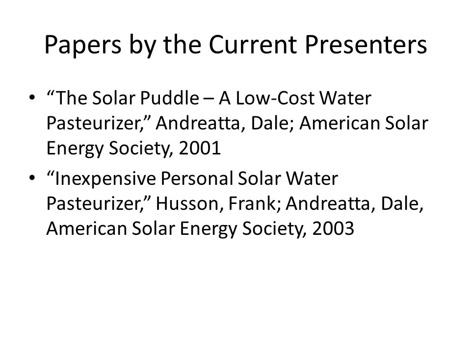 Papers by the Current Presenters