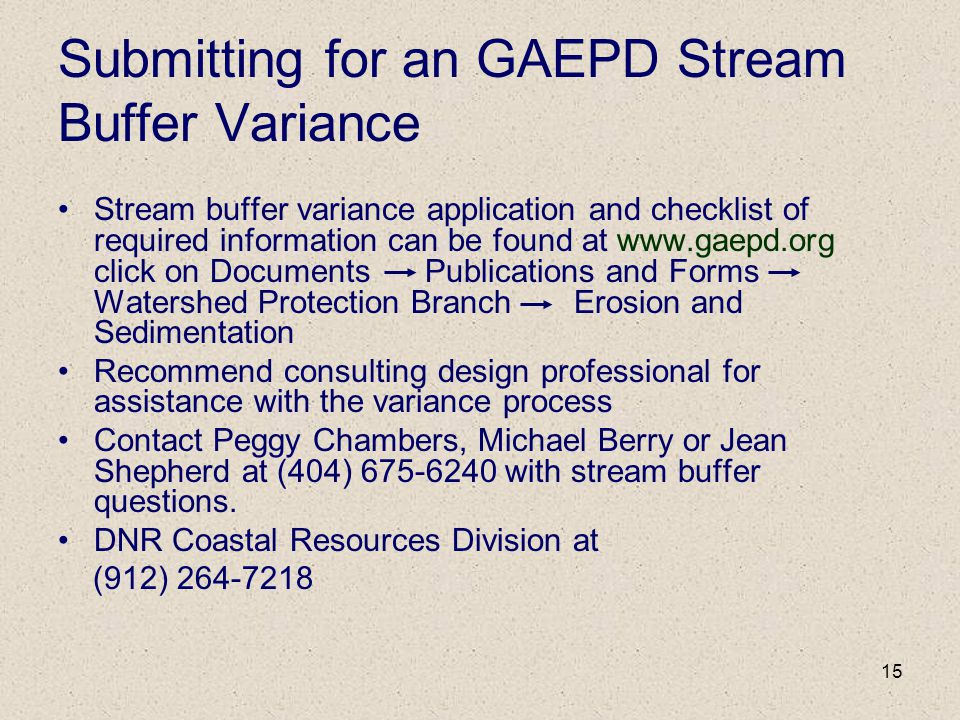Submitting for an GAEPD Stream Buffer Variance