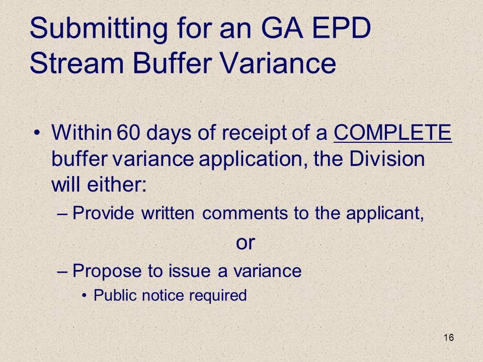 Submitting for an GA EPD Stream Buffer Variance