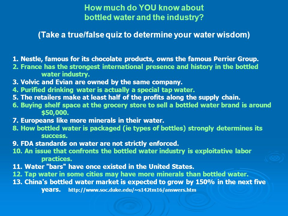 How much do YOU know about bottled water and the industry
