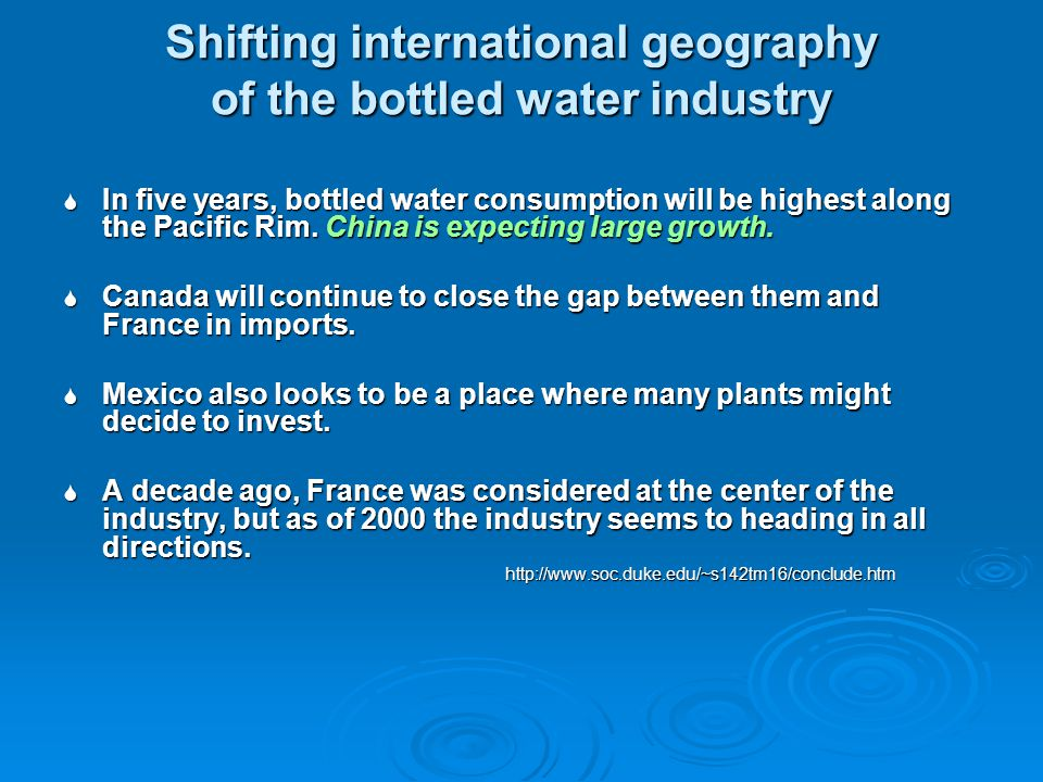 Shifting international geography of the bottled water industry