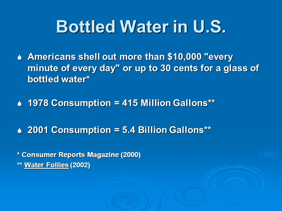 Bottled Water in U.S. Americans shell out more than $10,000 every minute of every day or up to 30 cents for a glass of bottled water*