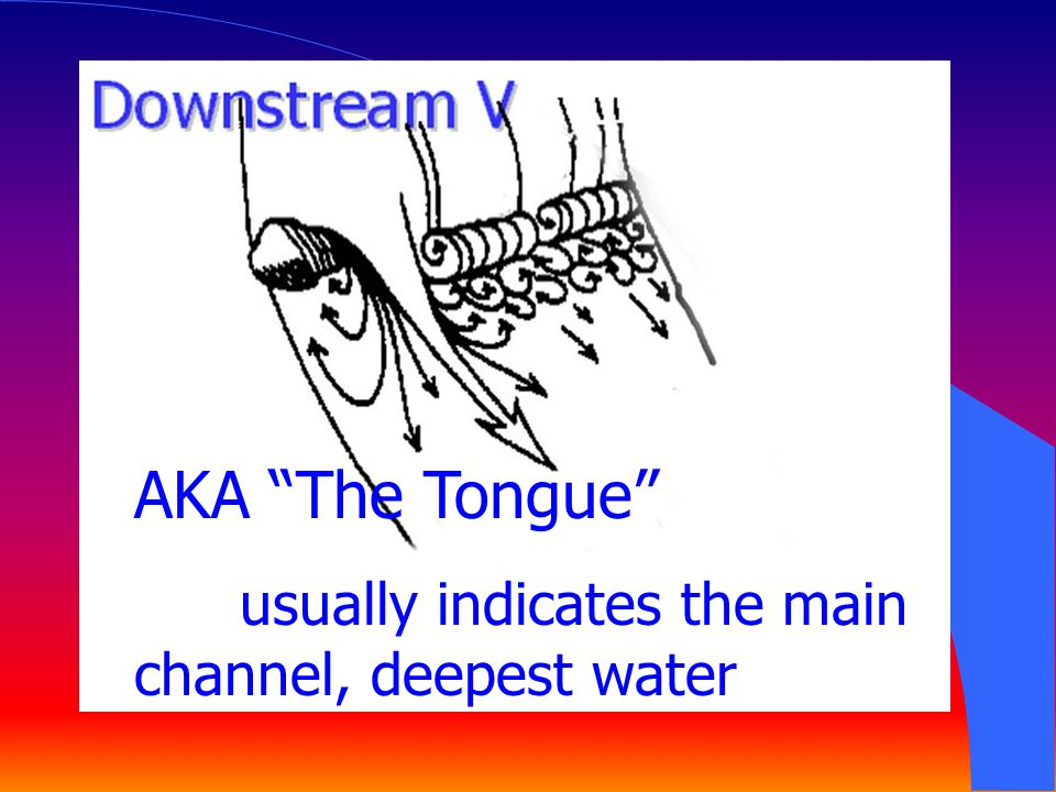 AKA The Tongue usually indicates the main channel, deepest water