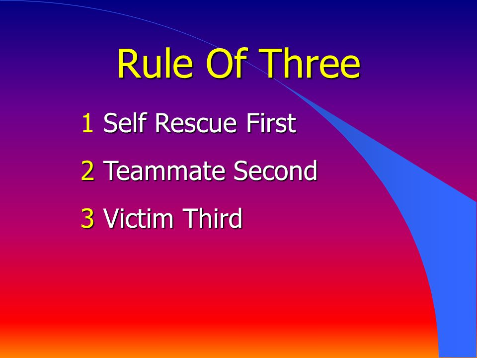 Rule Of Three 1 Self Rescue First 2 Teammate Second 3 Victim Third