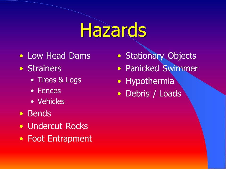 Hazards Low Head Dams Strainers Bends Undercut Rocks Foot Entrapment