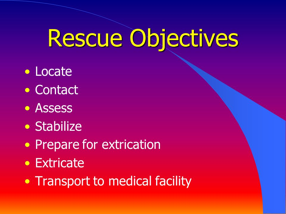 Rescue Objectives Locate Contact Assess Stabilize