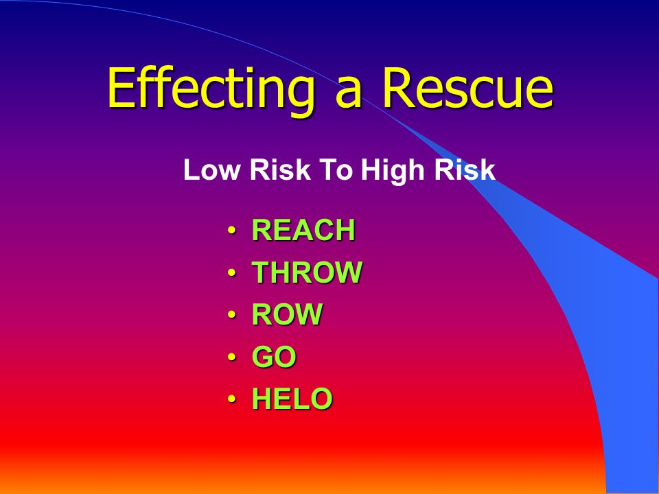 Effecting a Rescue Low Risk To High Risk REACH THROW ROW GO HELO