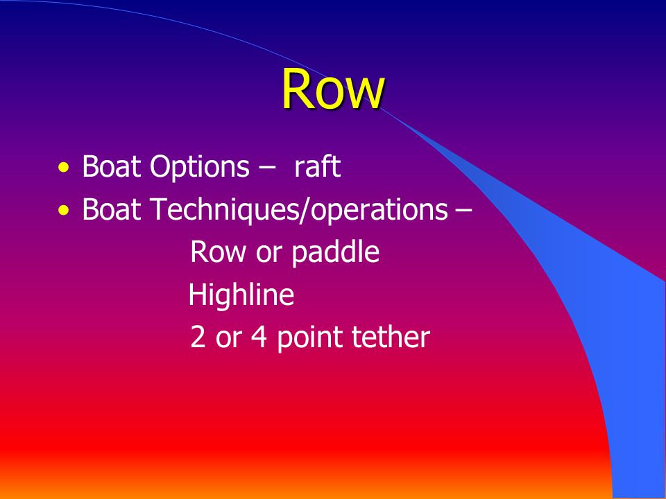 Row Boat Options – raft Boat Techniques/operations – Row or paddle