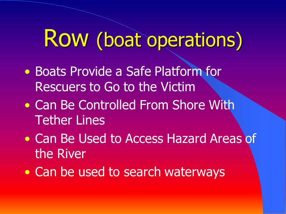 Row (boat operations) Boats Provide a Safe Platform for Rescuers to Go to the Victim. Can Be Controlled From Shore With Tether Lines.