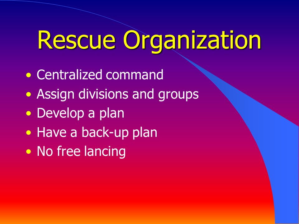 Rescue Organization Centralized command Assign divisions and groups