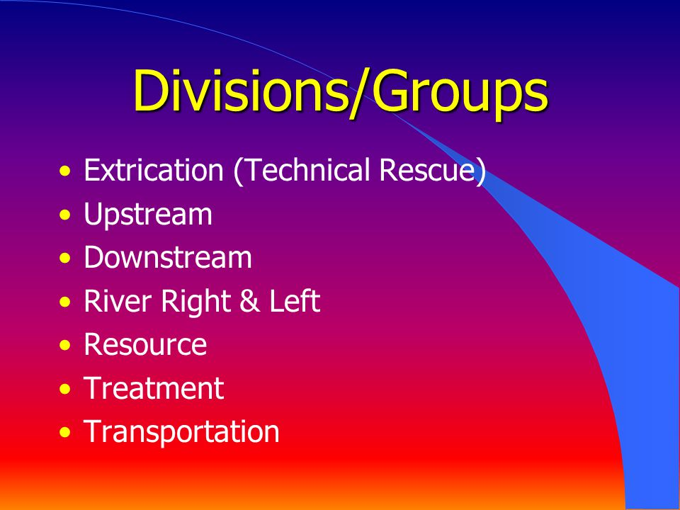 Divisions/Groups Extrication (Technical Rescue) Upstream Downstream
