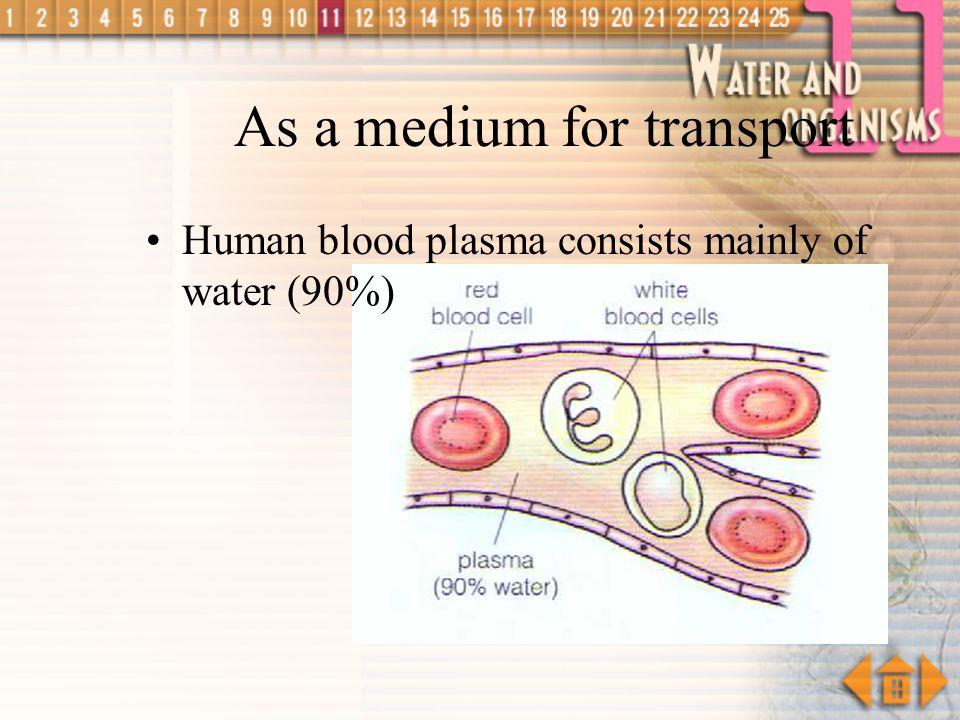 As a medium for transport