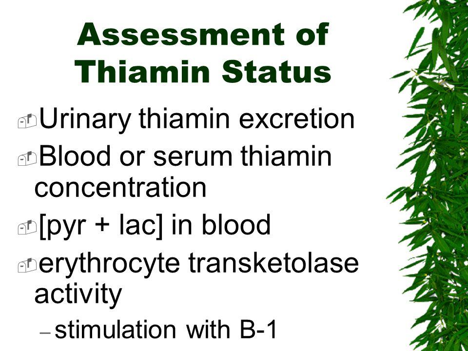 Assessment of Thiamin Status
