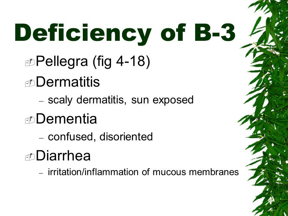 Deficiency of B-3 Pellegra (fig 4-18) Dermatitis Dementia Diarrhea
